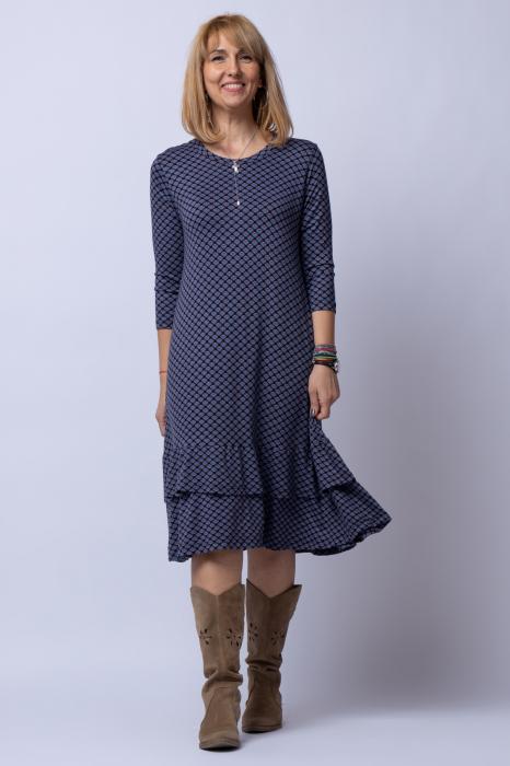 Rochie `A line` midi, din tricot gri cu imprimeu si doua volane poale 0