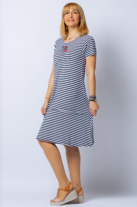 Rochie `A line` midi, dungi marinar din tricot cu imprimeu chip de fata [1]