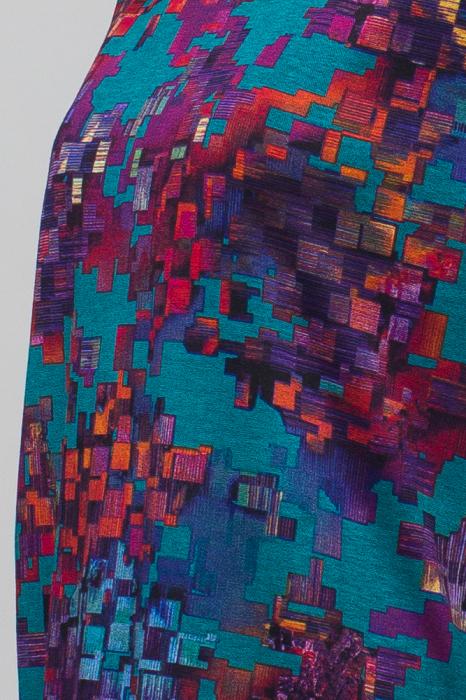 Rochie `A line` midi, imprimeu predominant in nuante de turquoise, din vascoza 4
