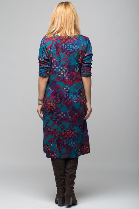 Rochie `A line` midi, imprimeu predominant in nuante de turquoise, din vascoza 2