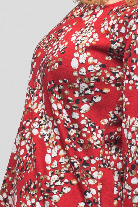 Rochie `A line` midi, rosie cu imprimeu puncte, din vascoza 4