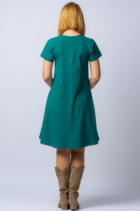 Rochie `A line` midi, verde, din tricot  plin cu aplicatie unicat [2]