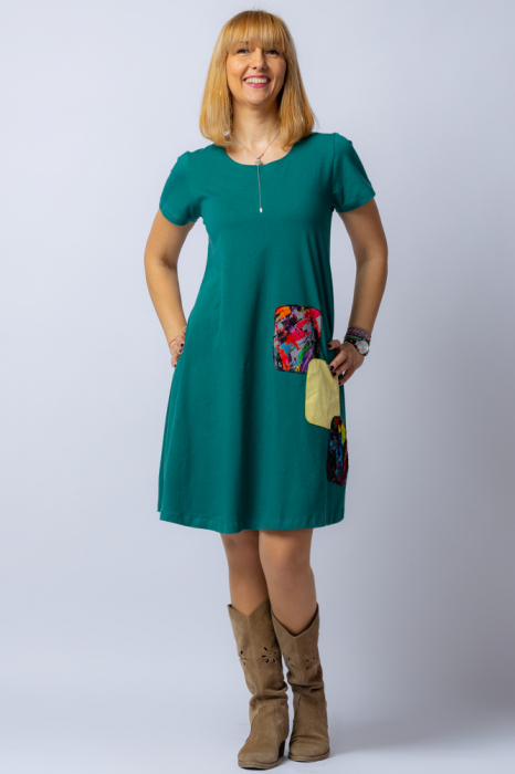 Rochie `A line` midi, verde, din tricot  plin cu aplicatie unicat [0]
