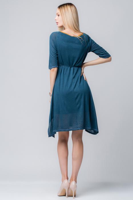 Rochie albastra din jerse cu floricele din piele pe cordon [2]