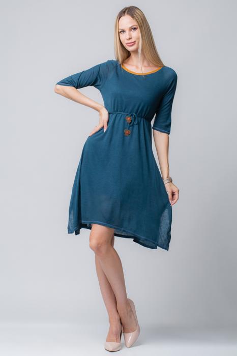 Rochie albastra din jerse cu floricele din piele pe cordon [0]