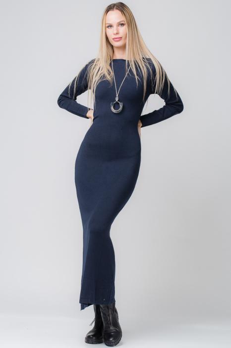 Rochie bleumarin lunga tricotata [0]