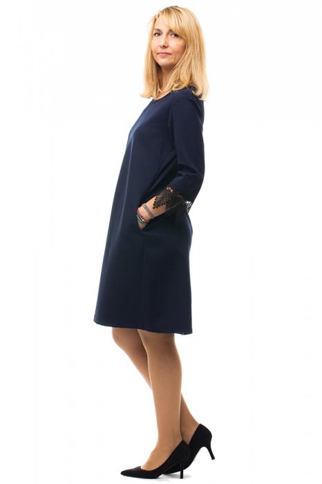 Rochie bleumarin office din tricot plin 1