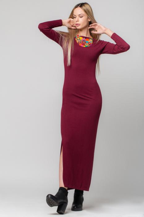 Rochie bordo lunga tricotata 0