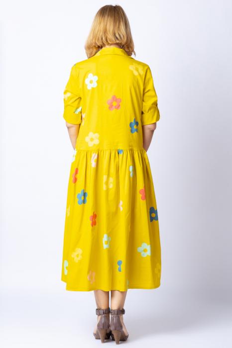 Rochie camasa galbena cu flori multicolore, din tesatura fina de bumbac [2]