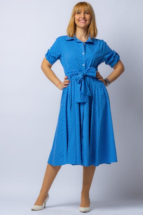 Rochie camasa albatra cu bulinute, din tesatura fina de bumbac [0]