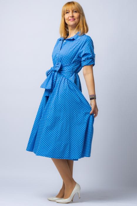 Rochie camasa albatra cu bulinute, din tesatura fina de bumbac [1]