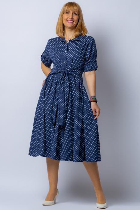 Rochie camasa bleumarin cu bulinute, din tesatura fina de bumbac [2]