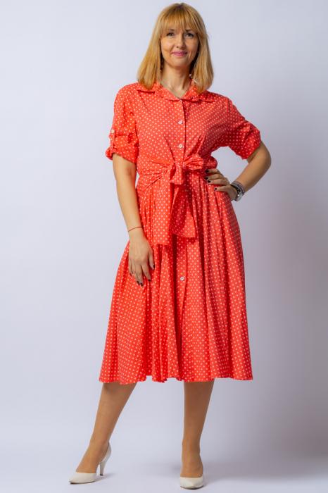 Rochie camasa corai cu bulinute, din tesatura fina de bumbac [0]