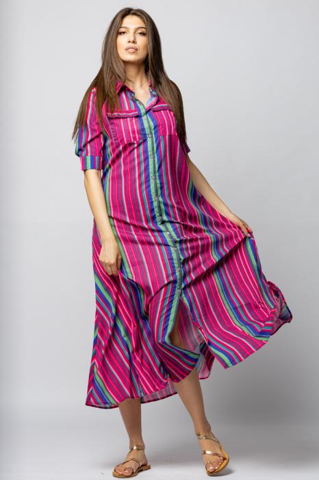 Rochie lunga tip camasa cu dungi fucsia [2]