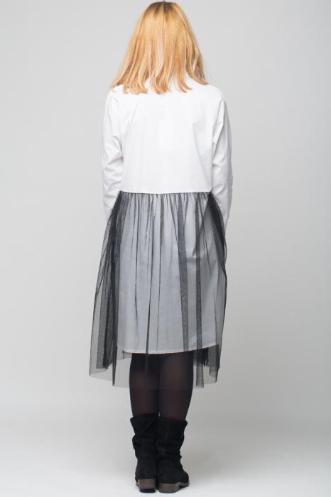 Rochie camasa lunga alba cu tul [2]