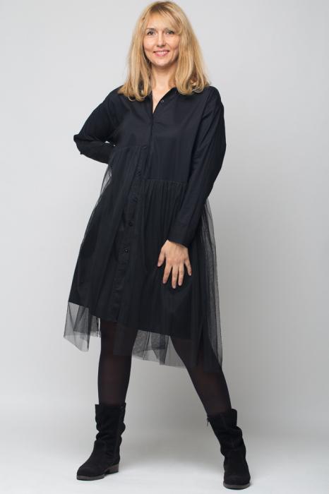 Rochie camasa lunga neagra cu tul 0