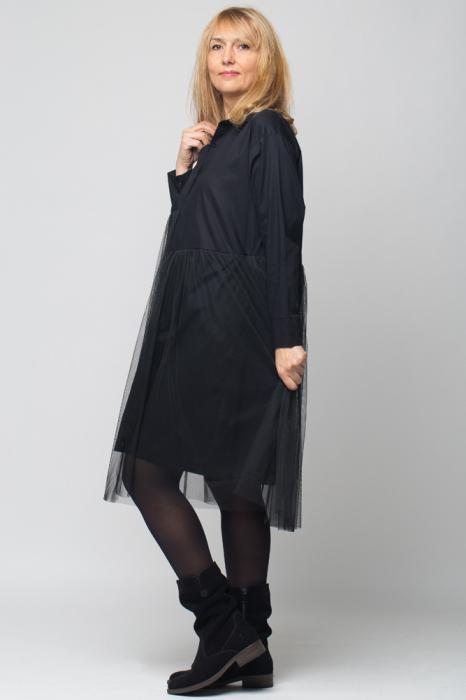 Rochie camasa lunga neagra cu tul 1