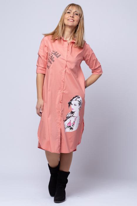 Rochie camasa lunga roz cu imprimeu girlish 0