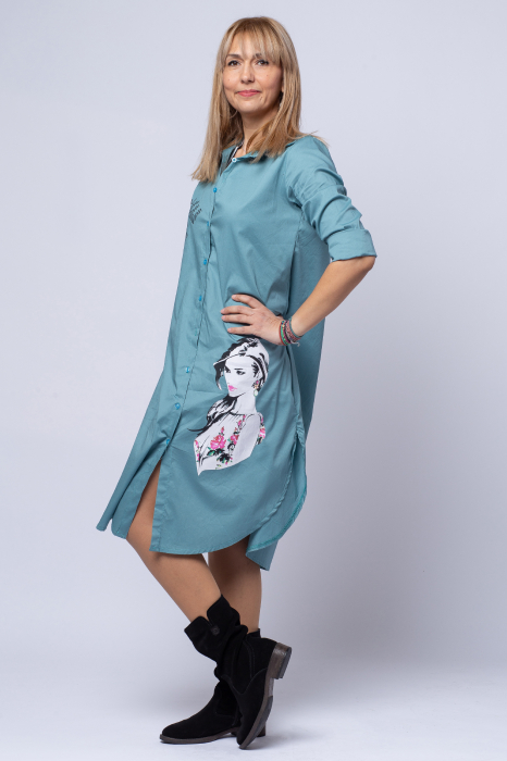Rochie camasa lunga turcoaz cu imprimeu girlish [1]
