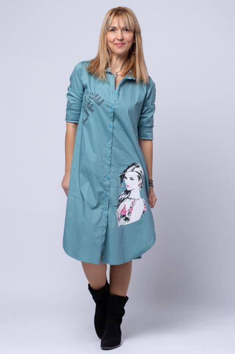 Rochie camasa lunga turcoaz cu imprimeu girlish [0]