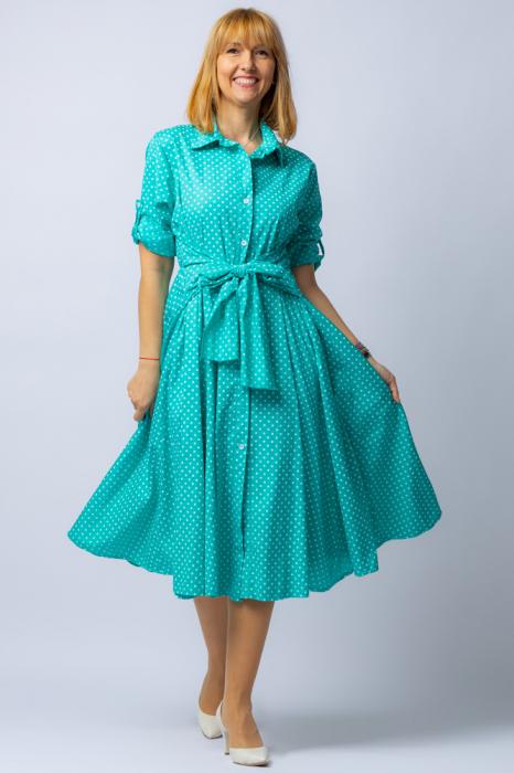 Rochie camasa verde cu bulinute, din tesatura fina de bumbac [0]