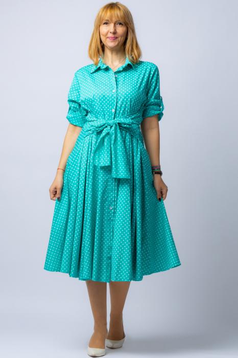 Rochie camasa verde cu bulinute, din tesatura fina de bumbac [1]