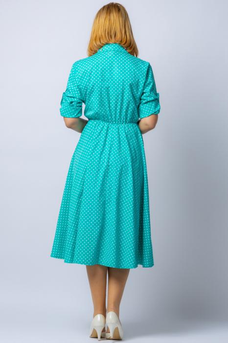 Rochie camasa verde cu bulinute, din tesatura fina de bumbac [2]