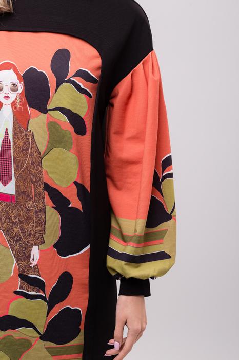 Rochie chic cu maneci bufante si imprimeu colorat 2