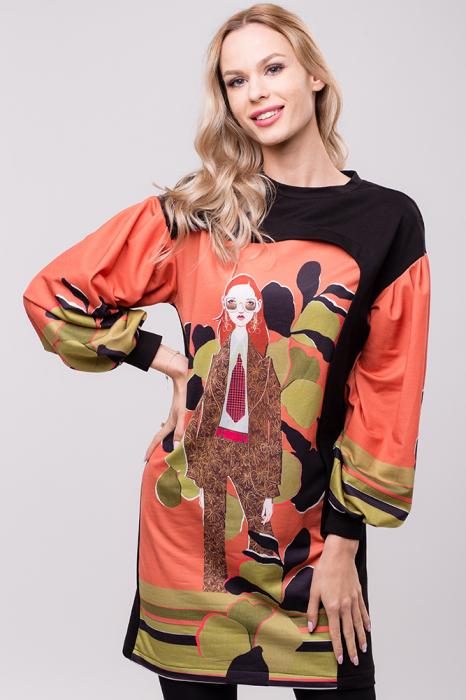 Rochie chic cu maneci bufante si imprimeu colorat 0
