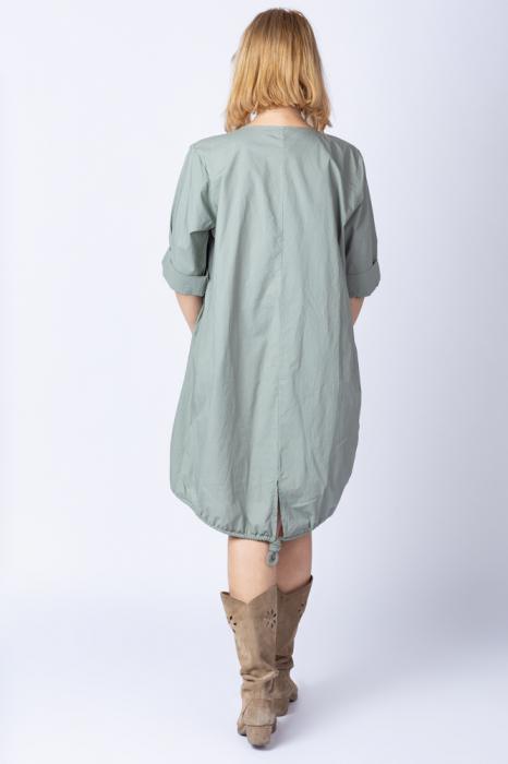 Rochie cu papadii stilizate si strasuri, asimetrica, pe fond kaki [2]