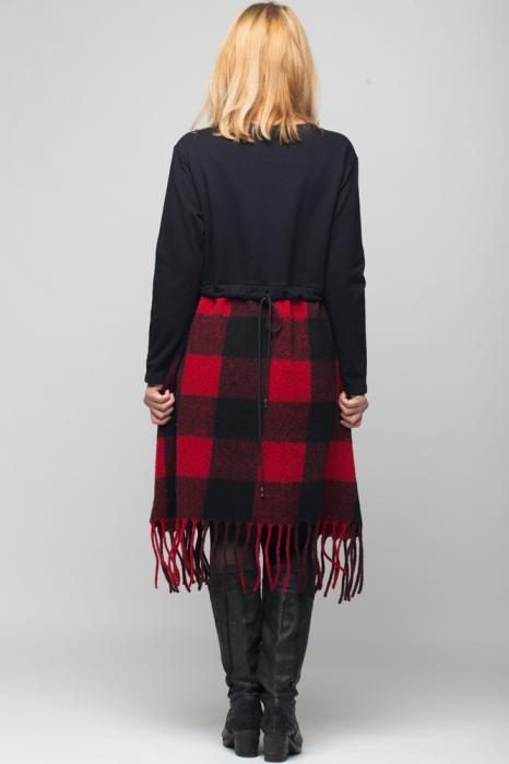 Rochie din lana ecozez rosu-negru cu franjuri si paiete 2