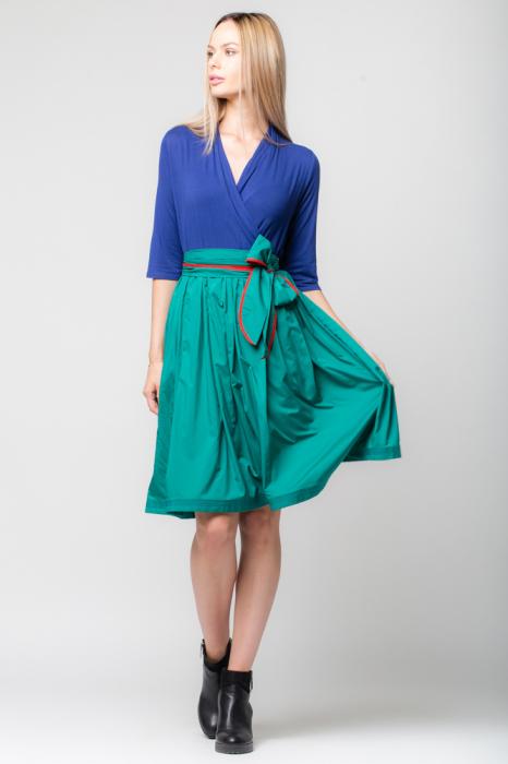 Rochie din tricot albastru si tafta verde 0