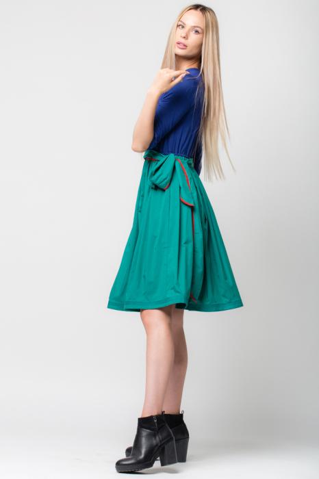 Rochie din tricot albastru si tafta verde 1