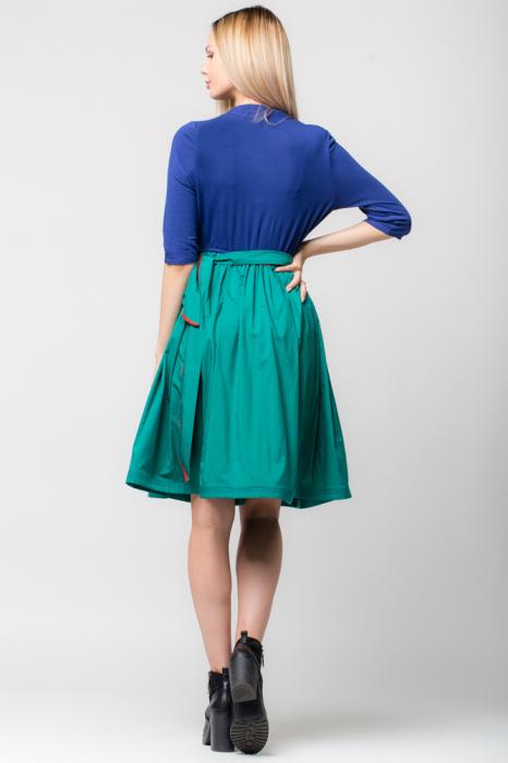 Rochie din tricot albastru si tafta verde 2