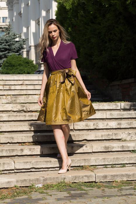 Rochie din tricot mov si tafta bronz 5