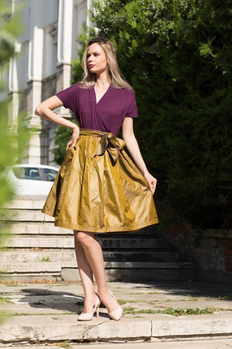 Rochie din tricot mov si tafta bronz 4