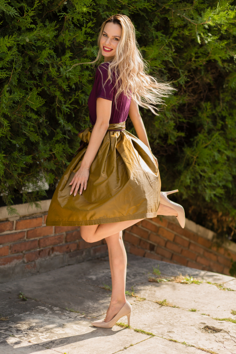 Rochie din tricot mov si tafta bronz 3
