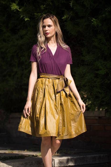 Rochie din tricot mov si tafta bronz 1