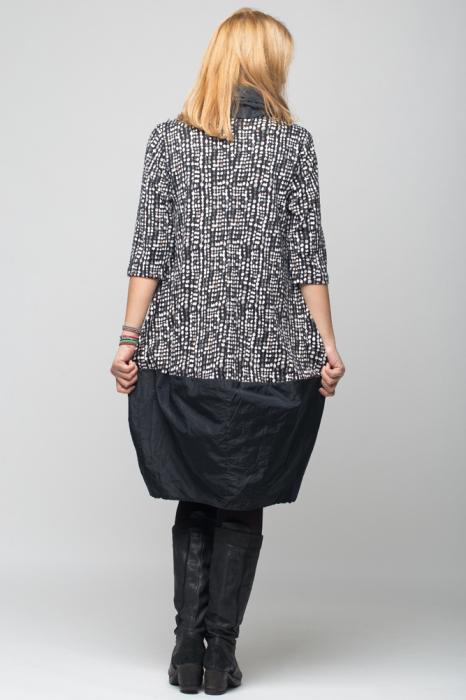 Rochie gogosar din tafta neagra si tricot imprimeu [3]
