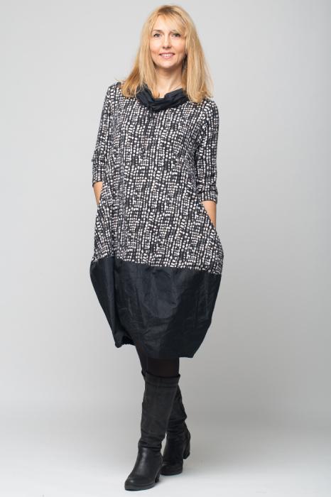 Rochie gogosar din tafta neagra si tricot imprimeu [5]
