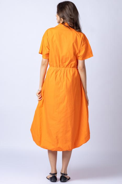 Rochie gogosar portocalie, cu guler camasa, din bumbac [2]