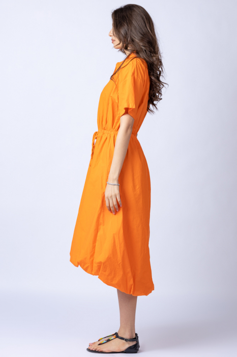 Rochie gogosar portocalie, cu guler camasa, din bumbac [1]
