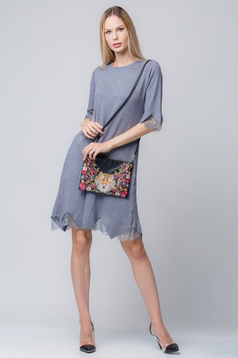 Rochie gri tricotata eleganta cu terminatie de dantela aplicata 0
