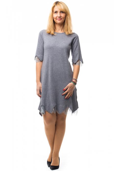 Rochie gri tricotata eleganta cu terminatie de dantela aplicata 4