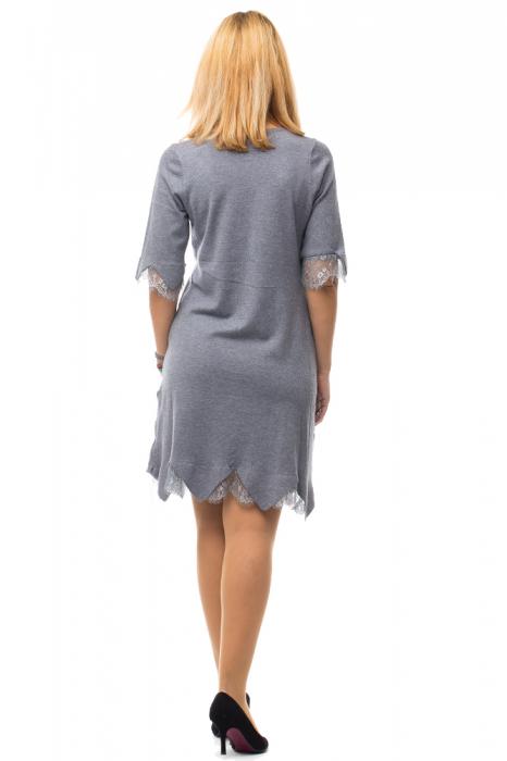 Rochie gri tricotata eleganta cu terminatie de dantela aplicata 3