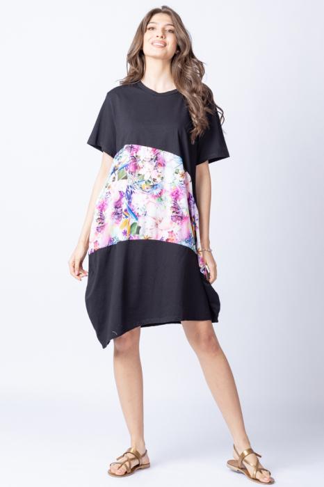 Rochie lalea asimetrica cu bust negru si imprimeu cu flori pastelate 0