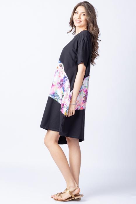 Rochie lalea asimetrica cu bust negru si imprimeu cu flori pastelate 1