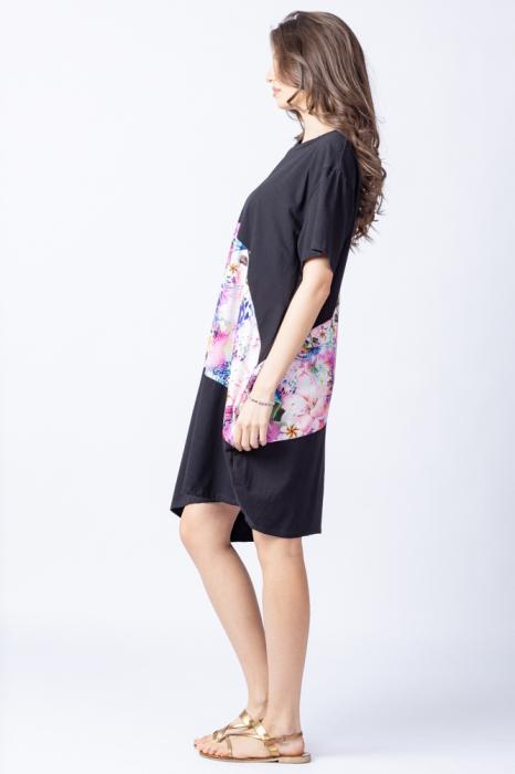 Rochie lalea asimetrica cu bust negru si imprimeu cu flori pastelate 2