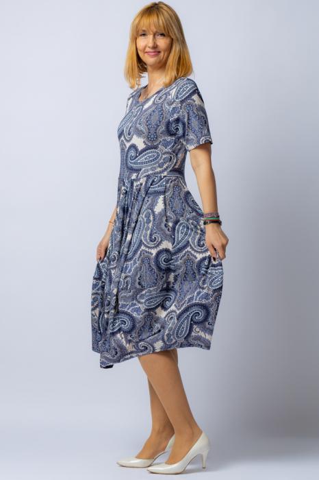 Rochie lalea cu imprimeu arabesque alb-albastru [1]