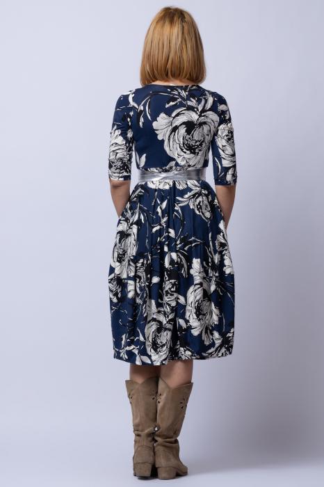 Rochie lalea cu imprimeu floral alb-albastru 2